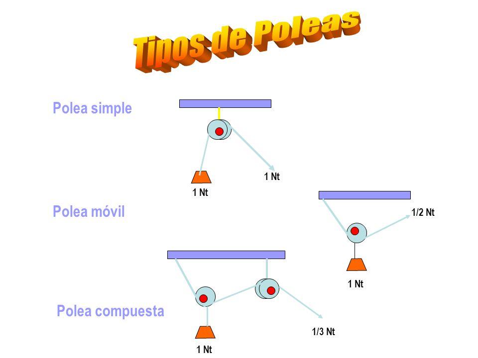 Tipos de Poleas Polea simple Polea móvil Polea compuesta 1 Nt 1 Nt