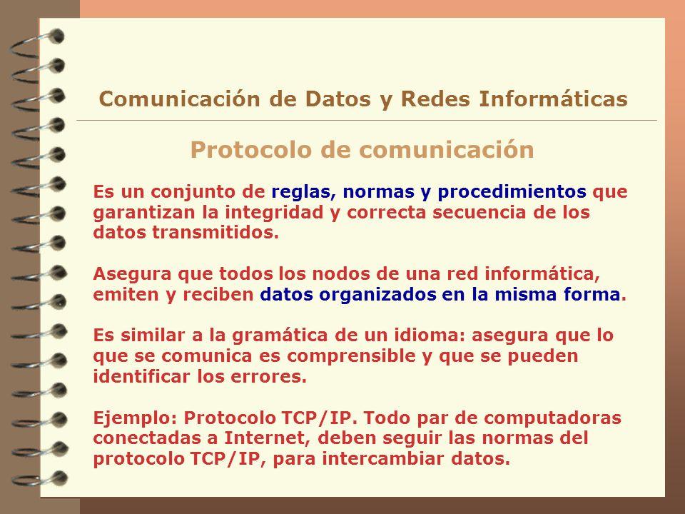 Comunicación de Datos y Redes Informáticas Protocolo de comunicación