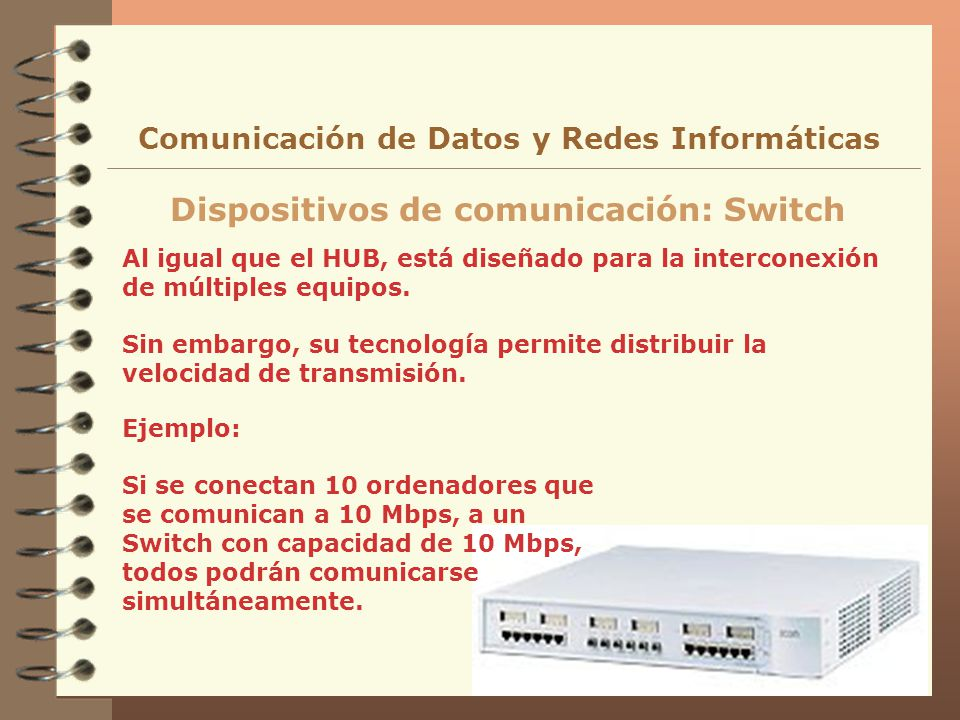 Dispositivos de comunicación: Switch