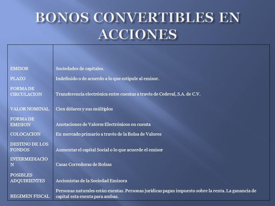 BONOS CONVERTIBLES EN ACCIONES