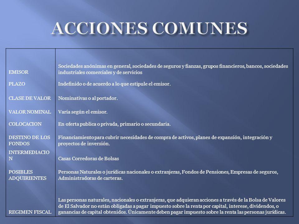 ACCIONES COMUNES EMISOR