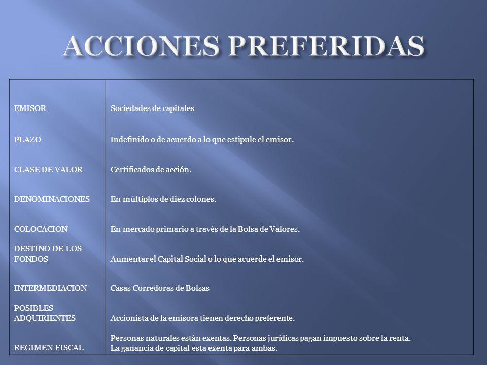 ACCIONES PREFERIDAS EMISOR Sociedades de capitales PLAZO