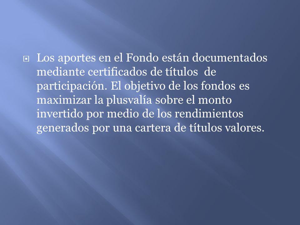 Los aportes en el Fondo están documentados mediante certificados de títulos de participación.
