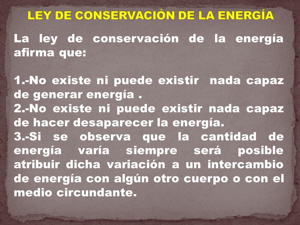 LEY DE CONSERVACIÓN DE LA ENERGÍA