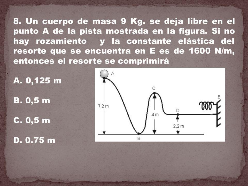 8. Un cuerpo de masa 9 Kg. se deja libre en el punto A de la pista mostrada en la figura. Si no hay rozamiento y la constante elástica del resorte que se encuentra en E es de 1600 N/m, entonces el resorte se comprimirá