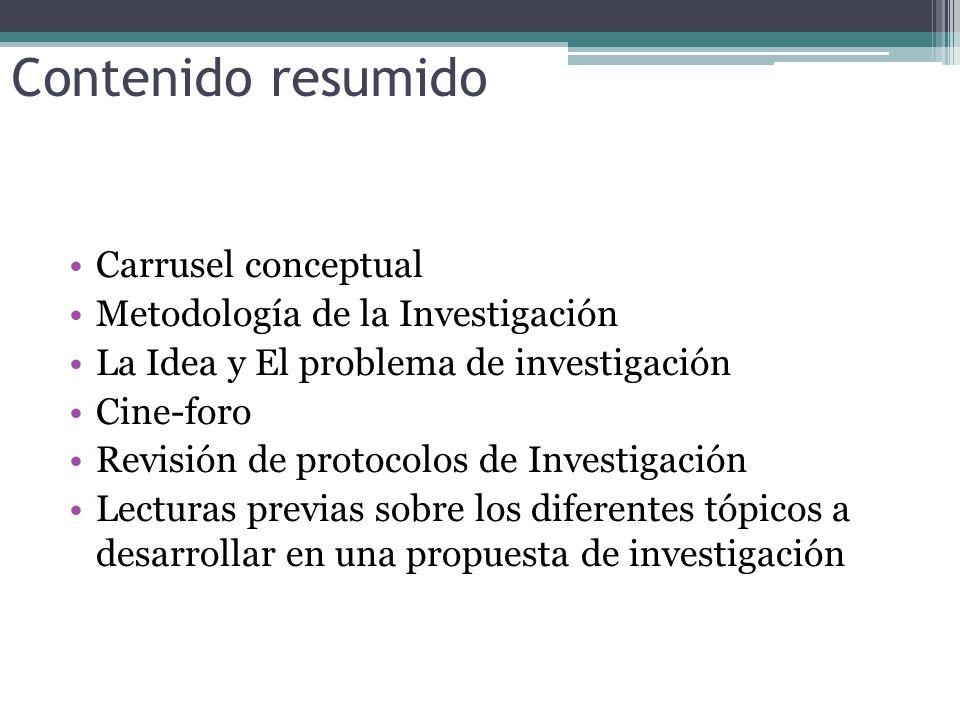 Contenido resumido Carrusel conceptual Metodología de la Investigación