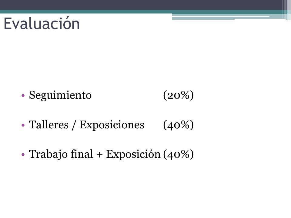 Evaluación Seguimiento (20%) Talleres / Exposiciones (40%)