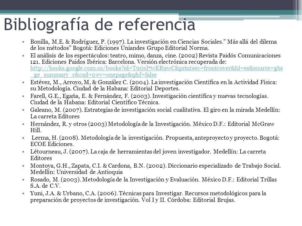 Bibliografía de referencia