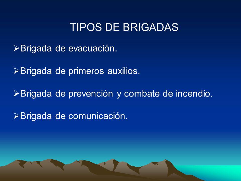 TIPOS DE BRIGADAS Brigada de evacuación. Brigada de primeros auxilios.