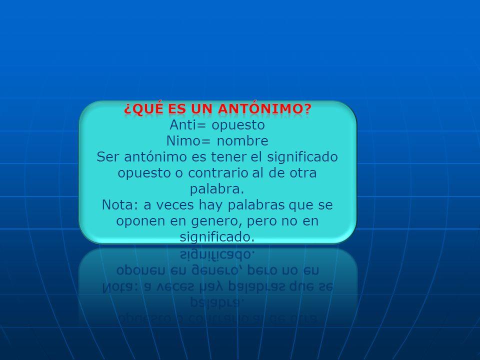 ¿Qué es un antónimo Anti= opuesto. Nimo= nombre. Ser antónimo es tener el significado opuesto o contrario al de otra palabra.
