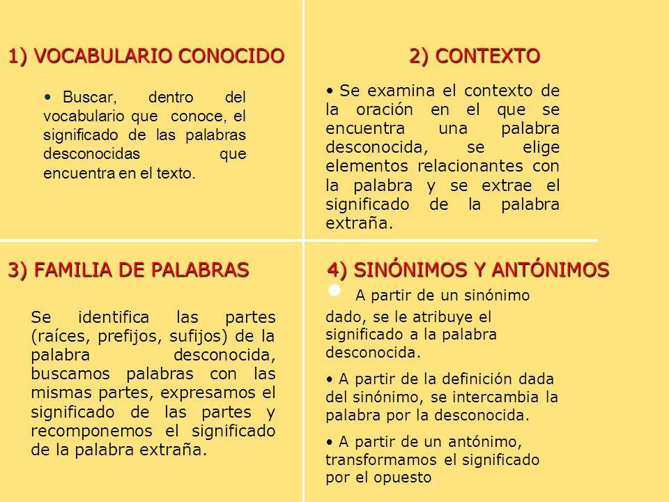1) VOCABULARIO CONOCIDO 2) CONTEXTO