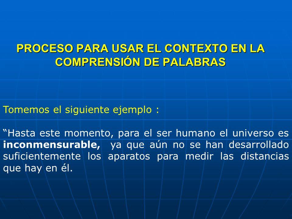 PROCESO PARA USAR EL CONTEXTO EN LA COMPRENSIÓN DE PALABRAS