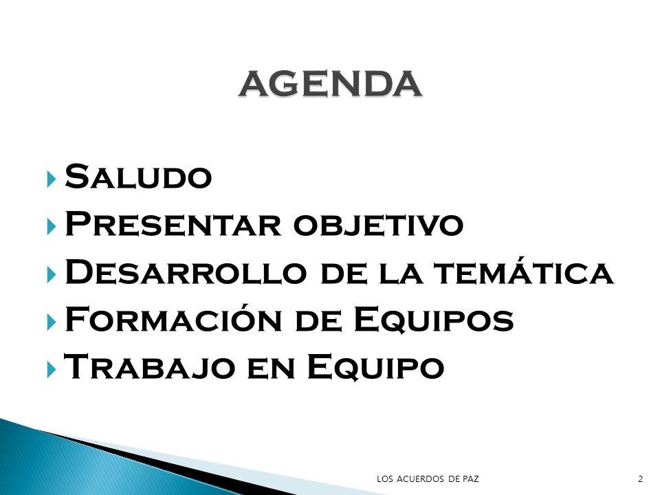 AGENDA Saludo Presentar objetivo Desarrollo de la temática