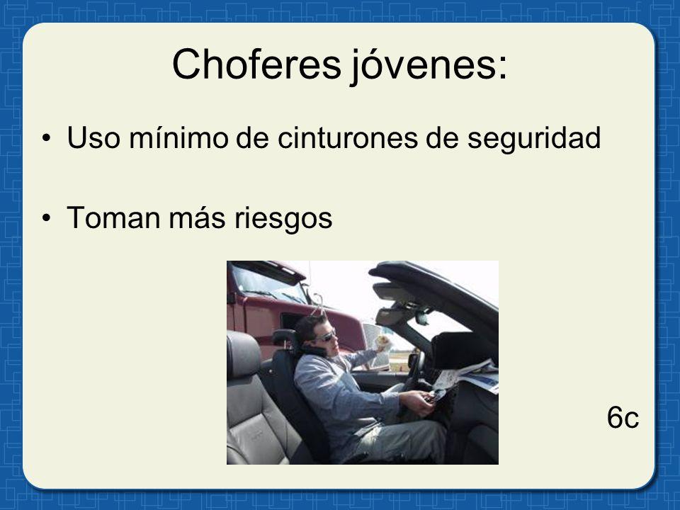 Choferes jóvenes: Uso mínimo de cinturones de seguridad