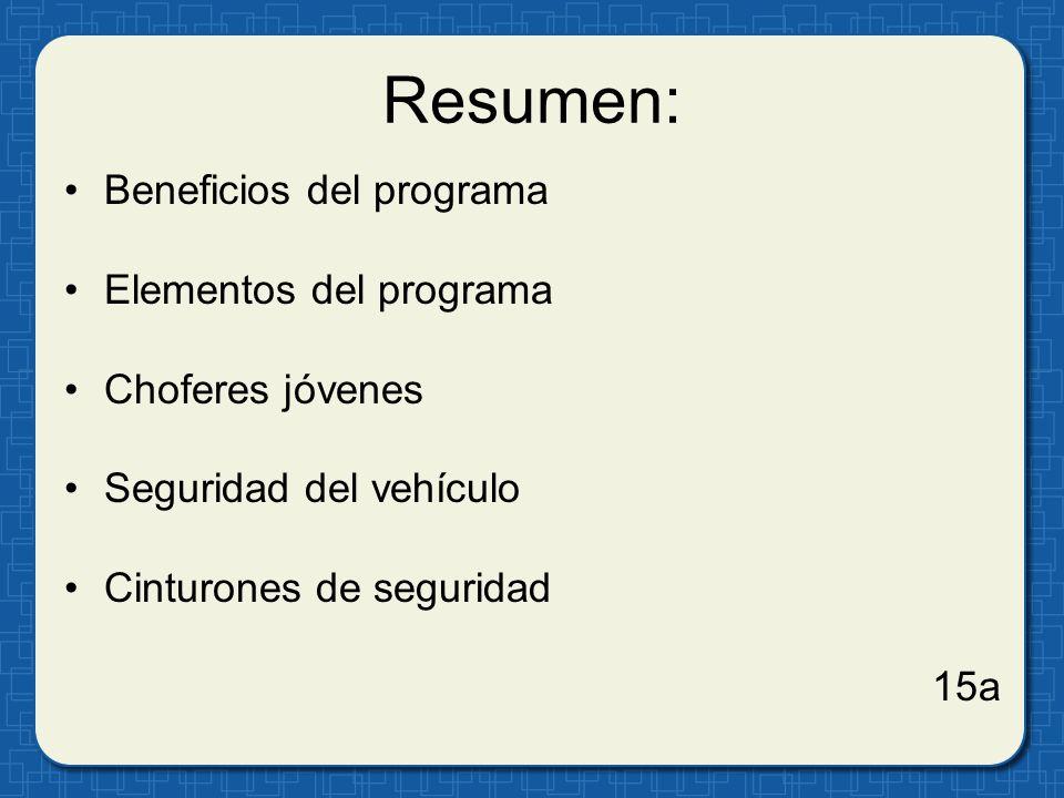 Resumen: Beneficios del programa Elementos del programa