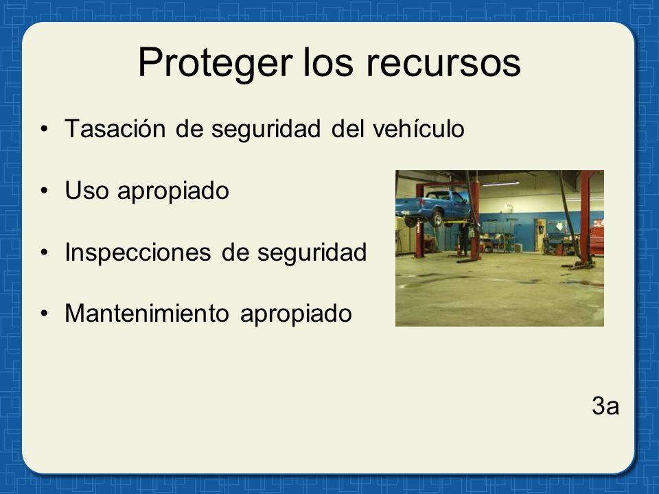 Proteger los recursos Tasación de seguridad del vehículo Uso apropiado