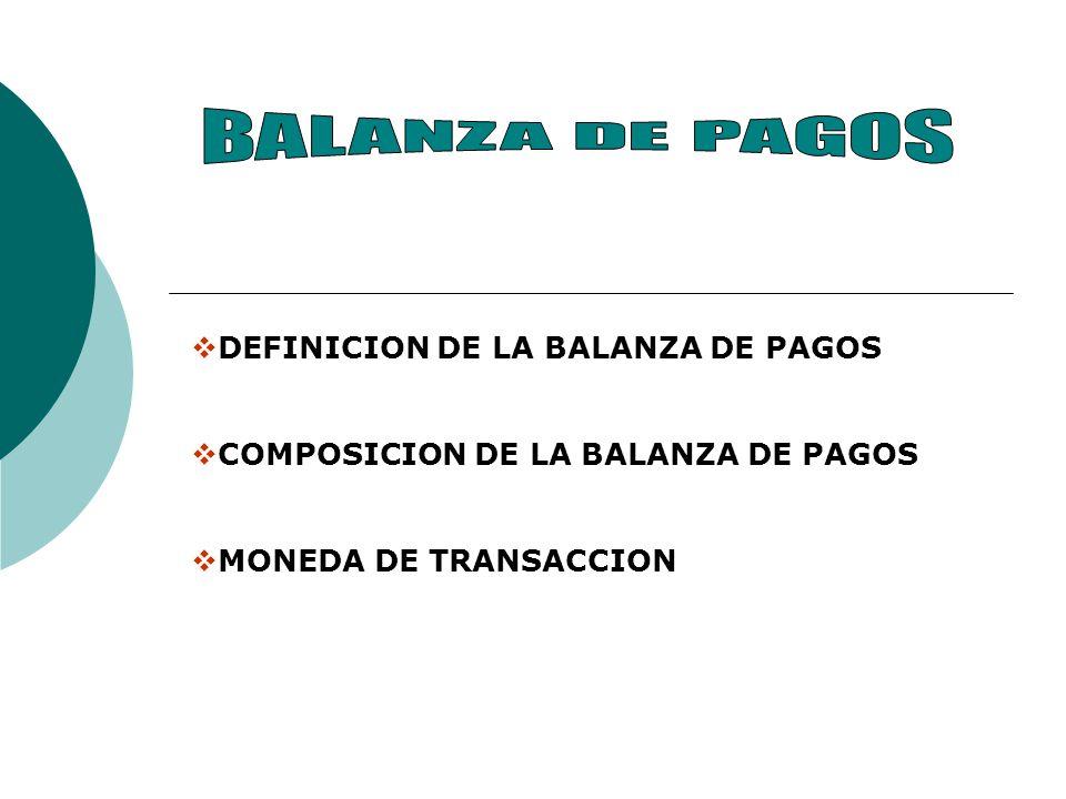 BALANZA DE PAGOS DEFINICION DE LA BALANZA DE PAGOS