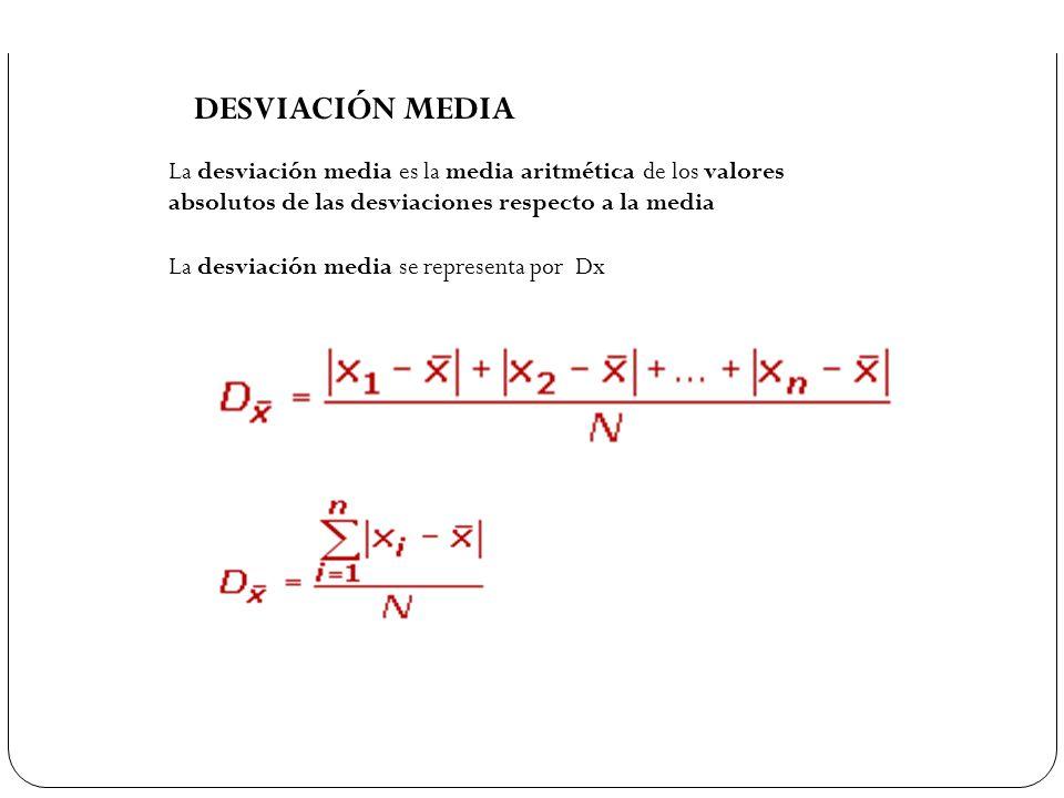 DESVIACIÓN MEDIA La desviación media es la media aritmética de los valores absolutos de las desviaciones respecto a la media.