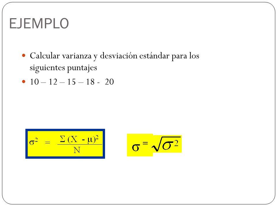 EJEMPLO Calcular varianza y desviación estándar para los siguientes puntajes.