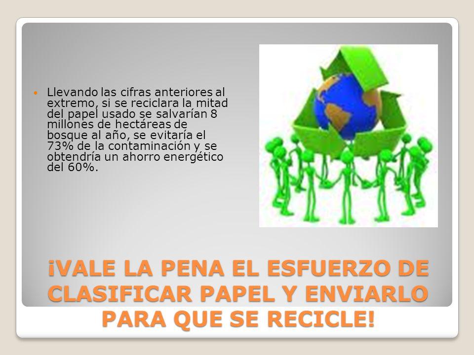 Llevando las cifras anteriores al extremo, si se reciclara la mitad del papel usado se salvarían 8 millones de hectáreas de bosque al año, se evitaría el 73% de la contaminación y se obtendría un ahorro energético del 60%.