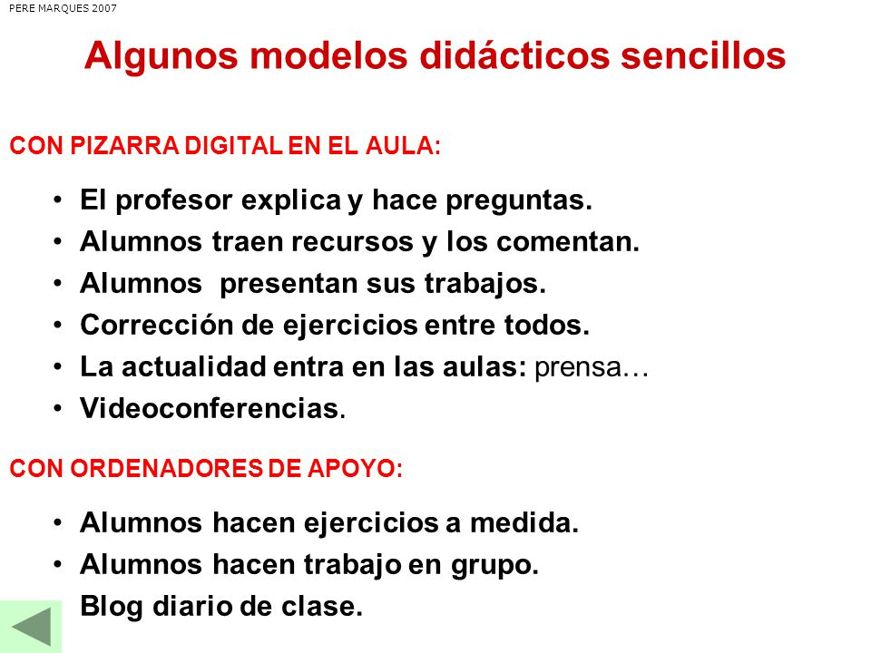 Algunos modelos didácticos sencillos