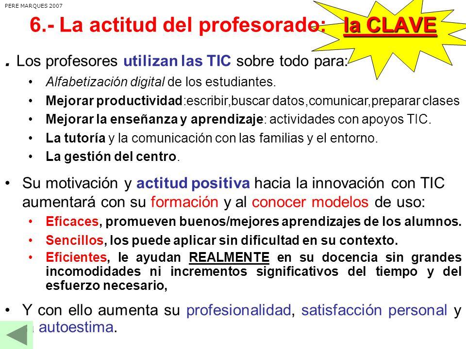 6.- La actitud del profesorado: la CLAVE