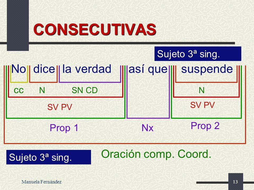 CONSECUTIVAS No dice la verdad así que suspende Oración comp. Coord.