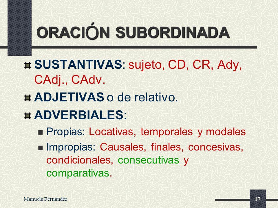 ORACIÓN SUBORDINADA SUSTANTIVAS: sujeto, CD, CR, Ady, CAdj., CAdv.