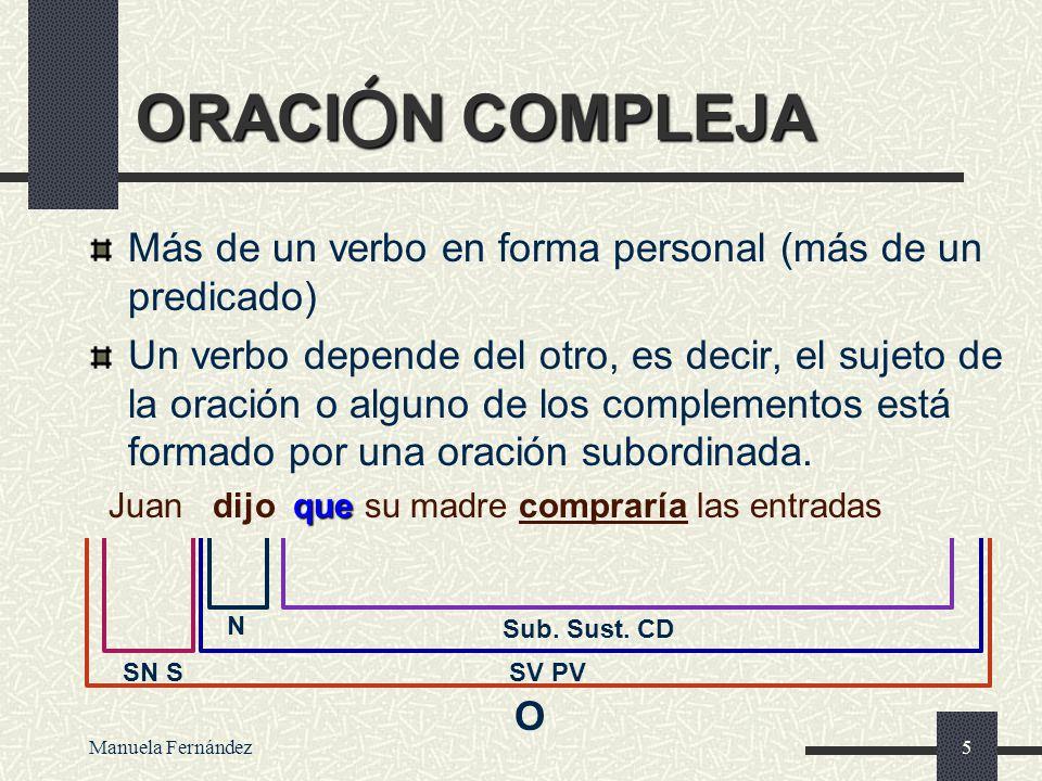 ORACIÓN COMPLEJA Más de un verbo en forma personal (más de un predicado)