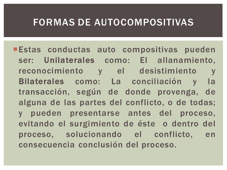 Formas de autocompositivas