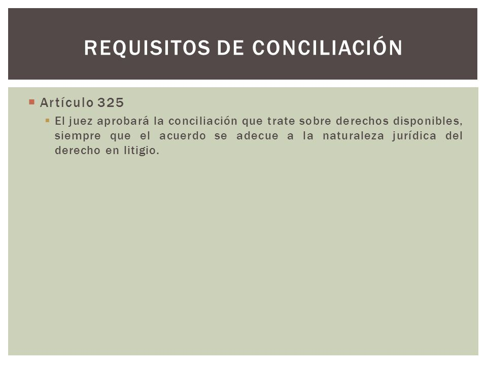 Requisitos de conciliación