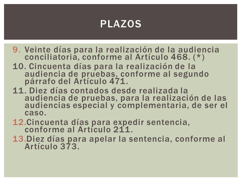 PLAZOS Veinte días para la realización de la audiencia conciliatoria, conforme al Artículo 468. (*)