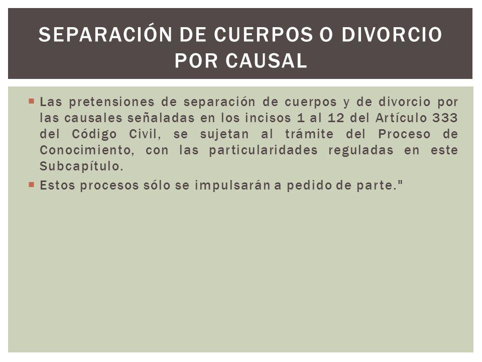Separación de cuerpos o divorcio por causal