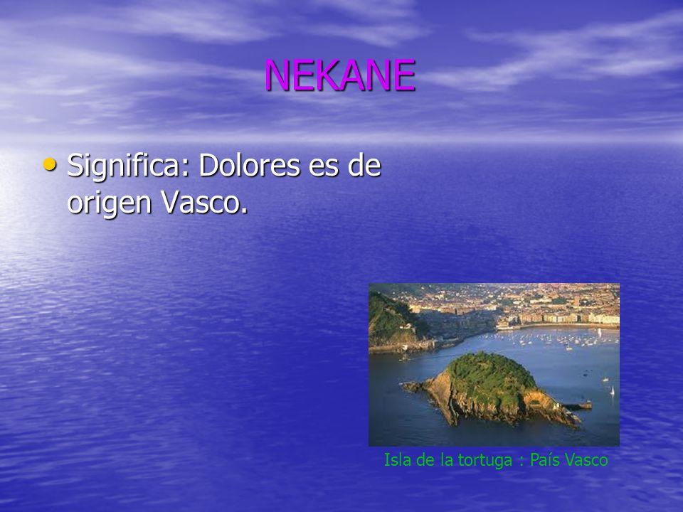 NEKANE Significa: Dolores es de origen Vasco.