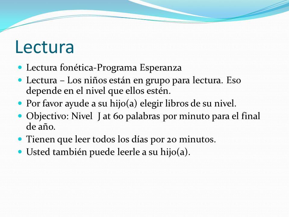 Lectura Lectura fonética-Programa Esperanza