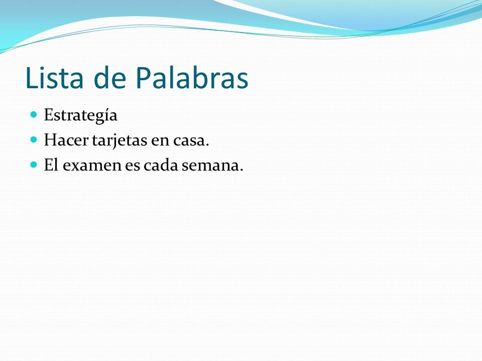 Lista de Palabras Estrategía Hacer tarjetas en casa.