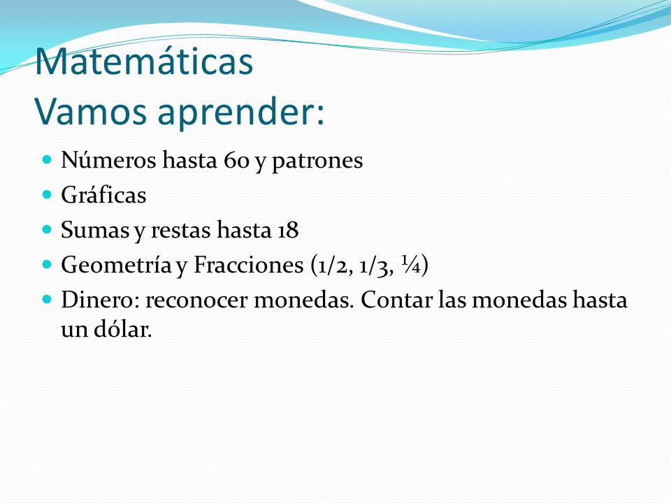 Matemáticas Vamos aprender: