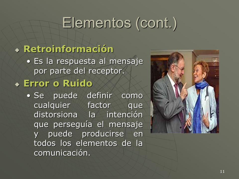 Elementos (cont.) Retroinformación Error o Ruido