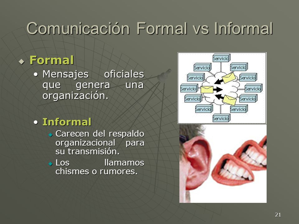 Comunicación Formal vs Informal