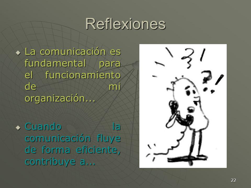 Reflexiones La comunicación es fundamental para el funcionamiento de mi organización...