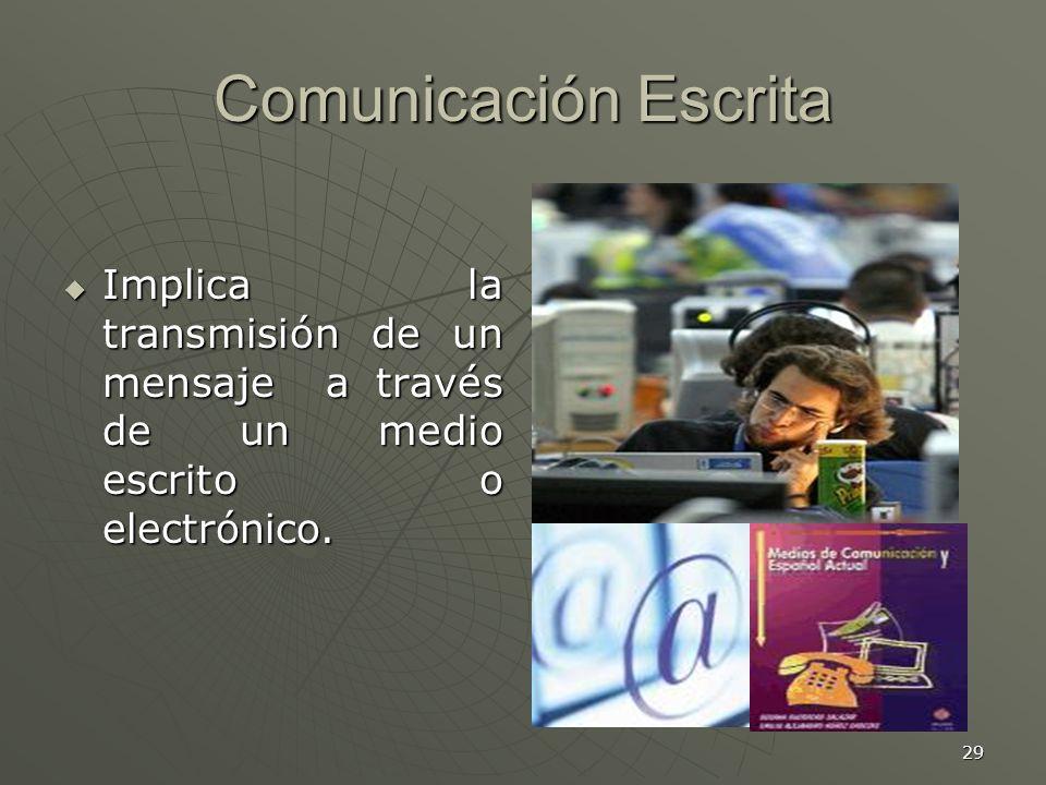 Comunicación Escrita Implica la transmisión de un mensaje a través de un medio escrito o electrónico.