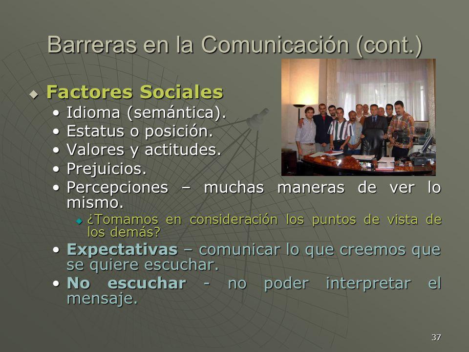 Barreras en la Comunicación (cont.)