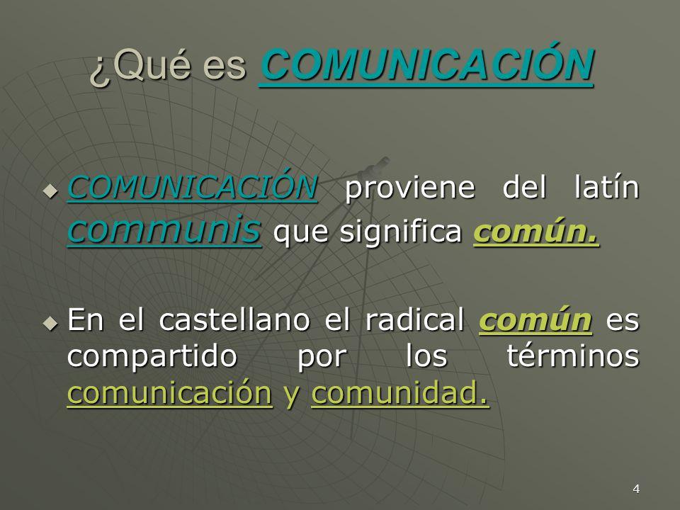 ¿Qué es COMUNICACIÓN COMUNICACIÓN proviene del latín communis que significa común.
