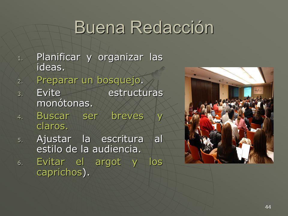 Buena Redacción Planificar y organizar las ideas.