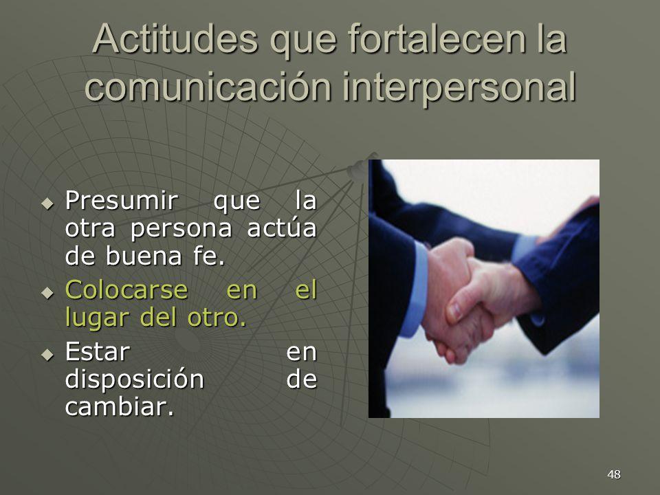 Actitudes que fortalecen la comunicación interpersonal