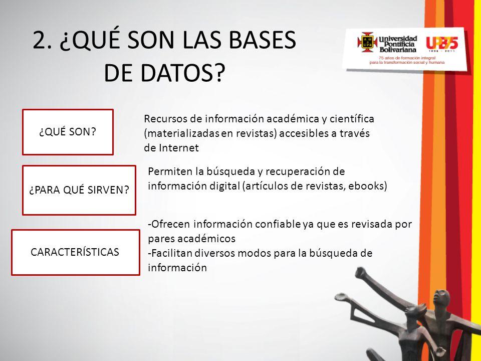 2. ¿QUÉ SON LAS BASES DE DATOS