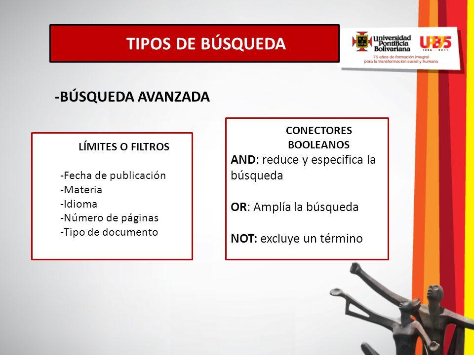 TIPOS DE BÚSQUEDA -BÚSQUEDA AVANZADA