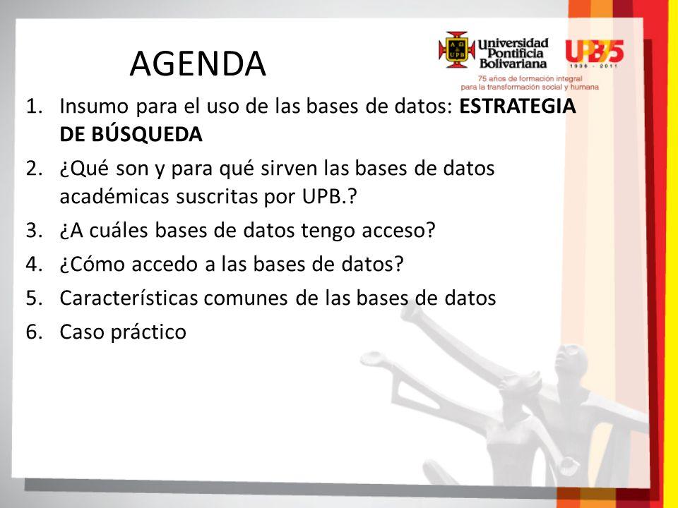AGENDA Insumo para el uso de las bases de datos: ESTRATEGIA DE BÚSQUEDA.