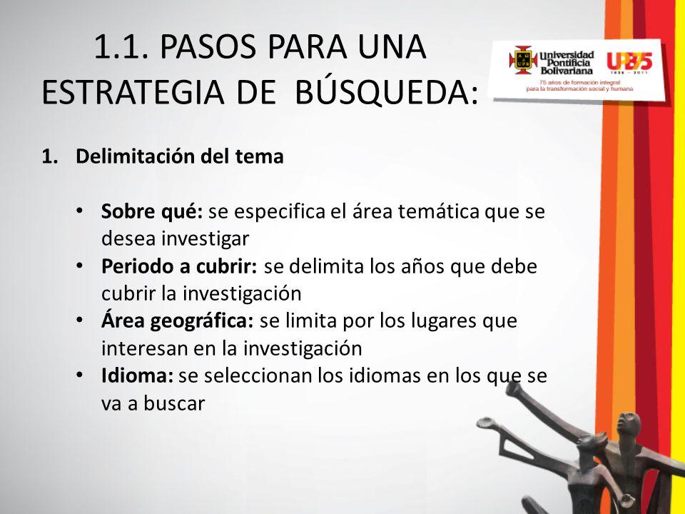 1.1. PASOS PARA UNA ESTRATEGIA DE BÚSQUEDA: