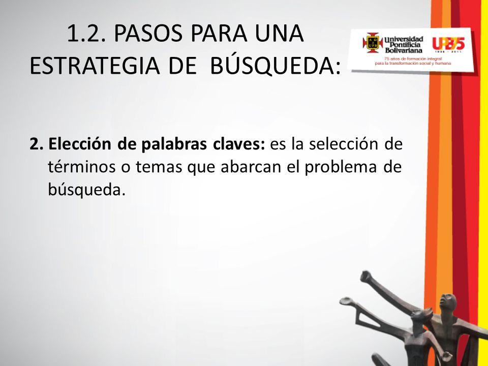 1.2. PASOS PARA UNA ESTRATEGIA DE BÚSQUEDA: